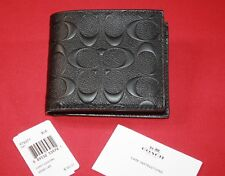 COACH MEN'S COMPACT ID WALLET IN SIGNATURE CROSSGRAIN LEATHER BLACK NEW