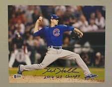 Kyle Hendricks 2016 WS Champs Signed 8x10 Photo BAS Sticker ONLY Chicago Cubs