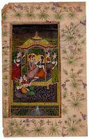 Handmade Mughal Miniature Painting Of Emperor & Empress Harem Art Old Painting