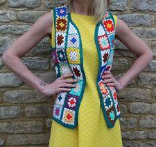 Vintage Rainbow Floral Crochet Patchwork Vest Hippie Boho Waistcoat