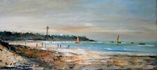 île de Ré. La plage du phare des Baleines. Peinture signée ROY