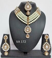 Indian Bollywood Jewelry Passa Wedding Fashion Head Piece Pearl CZ Maang Tikka