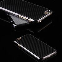 Black/Siver Case For Smart phone Carbon Fiber Chromed Hard Back Case Cover