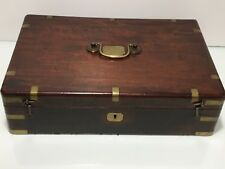English Mahogany Brass Wood Deed Document Box circa1800s Keys Traveling Maritime