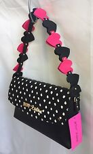BETSEY JOHNSON Quilted Heart Strap  Shoulder Bag BLACK DOTS FUCHSIA Flap Handbag
