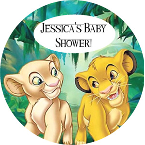 LION KING BABY SHOWER PERSONALIZED ROUND PARTY STICKERS LABELS FAVORS SUPPLIES