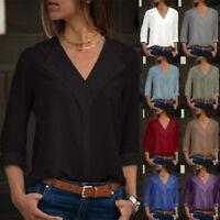 Womens Chiffon Plain Long Sleeve Blouse Summer Casual V Neck Loose Tops T Shirts