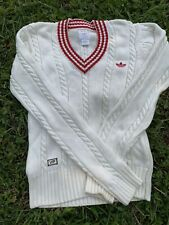 Adidas Sweater Vintage V Neck Cable Knit Sweater Ivory Red Stripe Sz Small
