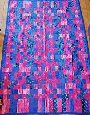 Handmade Quilt Twin Sized Pink and Blue Hand Stitched