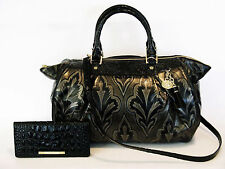 BRAHMIN TAUPE MIRAGE BLACK METALLIC LARGE FAYE SATCHEL SHOULDER BAG & WALLET NWT