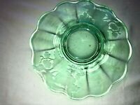 Vintage Peacock & Wild Rose Green Mayonnaise Liner Depression Glass Mint