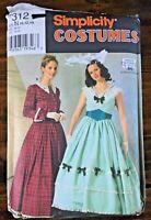 Simplicity 7312 Civil War Era Dress Jacket Skirt Cape Pattern Sz 10 12 14 UNCUT