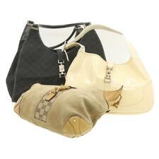 GUCCI GG Canvas Jackie Shoulder Bag 3Set Beige Patent Leather Suède Auth ar3144