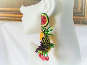 """Vintage Lunch At The Ritz """"FRUIT COCKTAIL"""" Clip On Earrings"""