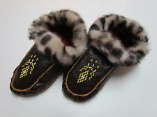 BEADED NATIVE AMERICAN MOCCASINS/SLIPPERS - 9 IN - DOUBLE SOLED - FUR CUFFED