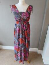 ACCESSORIZE Ladies Grey Purple Red Pink Floral Maxi Dress Lined Size S VGC