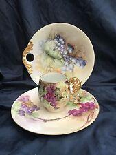Limoges France Grapes Tea cup & oversized saucer w matching handled bon bon dish