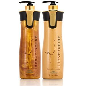 Keratin Cure Daily Sulfate Free Gold & Honey Protein Shampoo Conditioner 32oz