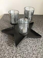 STAR SHAPED 3 ARM TEA LIGHT / VOTIVE HOLDER WITH SILVER MERCURY GLASS # W/E