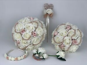 Wedding Bouquets , flowers Rose gold, bride ,posy ,bridesmaid, flower girl wand