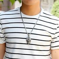 Tibet Men's Bone Skeleton Infinity Chain Charm Silver Skull Pendant Necklace