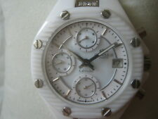 ONISS LADY'S WATCH CHRONO ALL WHITE CERAMIC DIAMOND MOP SAPPHIRE ON8014L NEW