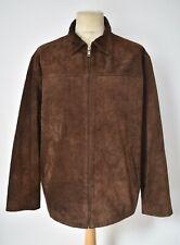 RALPH LAUREN POLO Soft Brown Suede Leather Half Belt Jacket Harrington Coat L/XL