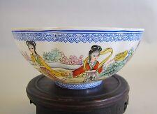 Vintage Signed Chinese Eggshell Porcelain Bowl w/ Women  Republic Era  c. 1950