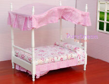 1:12Dollhouse Miniature Bed Bedroom Furniture Canopy Bed 17.2x12.7x18.4cm WB0022