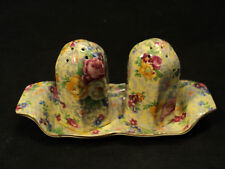 """LORD NELSON """"ROSE TIME"""" CHINTZ SALT, PEPPER & TRAY SET"""
