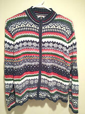 Vintage Tacky Ugly Christmas Sweater - Large Blue Horizontal Snowstorm Sweater !