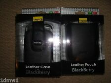 2 x BLACKBERRY Bold 9000 Storm 2 LEATHER CASE & POUCH in Black BRAND NEW! Logic3