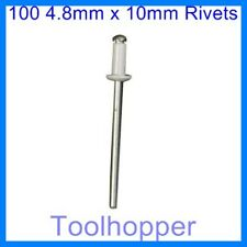 4.8 x 10mm  Standard Pop Rivets 100pk New
