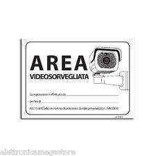 AREA VIDEOSORVEGLIATA CARTELLO RIGIDO-TABELLA IN PVC DETERRENTE CONTRO I LADRI