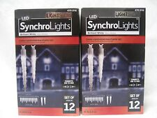 2 Boxes Of Set Of 12 - Total 24 Briliant White Led Synchro Lights - New W Box