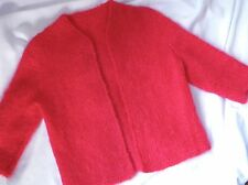 VINTAGE Atomic Bright Pink Red Mohair Hand Knit Open Cardigan Sweater Small