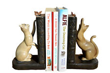 Two Resin Cats & Butterflies Bookends Book Ends Shelf Sitter Vintage Heavy Cat
