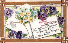 Mrs. Hall  - Agnes Martin Sanitaria Spring, Broom Co. NY Embossed Card 1925 CB23