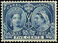 Canada #54 mint F-VF OG HR 1897 Queen Victoria 5c deep blue Diamond Jubilee