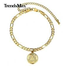 """Figaro Chain 8"""" + 4"""" Extension Link Round Initial A Pendant Anklet Bracelet 5mm"""