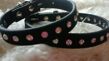 Dog Puppy Collar Diamante Faux Suede Very Cute Small  & ex small  neck size