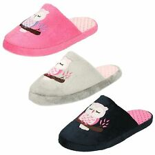 Ladies Slip On Owl Mule Slippers : X2093