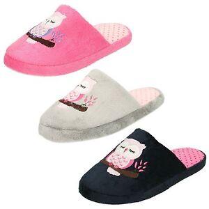 Ladies Spot On Slip On Owl Mule Slippers : X2093