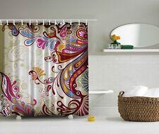 Colorful Paisley Pattern Graphic Shower Curtain Blue Raspberry Bright Bath Decor