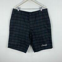 VINTAGE Billabong Mens Shorts 42 Slim Black Plaid Zip Closure Bermuda Made USA