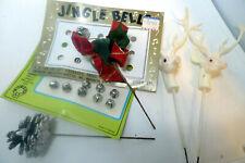 Vintage 1980s Christmas Lot Resin Deer Plan Spikes Jingle Bells