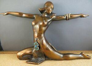 Antique Art Deco Semi Nude Egyptian Woman Snake Dancer Ronson Metal Sculpture