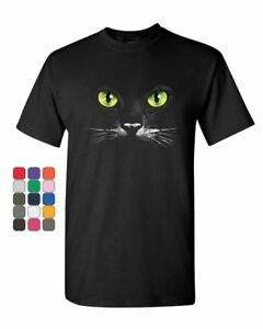 Cat Green Eyes T-Shirt Animal Pet Lovers Kitten Huge Cat Face  Mens Tee Shirt
