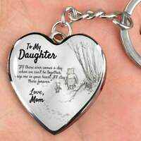 To My Daughter Keyring Key Chain Love Mom Winnie the Pooh And Piglet Heart