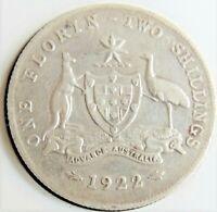 1922 AUSTRALIA George V, silver  Florin, Grading FINE / Good FINE.